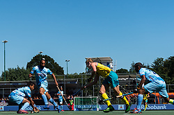 (L-R) Vivek Prasad of India, Sardar Singh of India, Aran Zalewski of Australia, Sunil Sowmarpet Vitalacharya of India during the Champions Trophy finale between the Australia and India on the fields of BH&BC Breda on Juli 1, 2018 in Breda, the Netherlands.