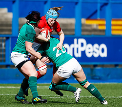 Gwen Crabb of Wales is tackled by Anna Caplice of Ireland <br /> <br /> Photographer Simon King/Replay Images<br /> <br /> Six Nations Round 5 - Wales Women v Ireland Women- Sunday 17th March 2019 - Cardiff Arms Park - Cardiff<br /> <br /> World Copyright © Replay Images . All rights reserved. info@replayimages.co.uk - http://replayimages.co.uk