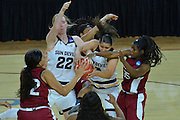 March 18, 2016; Tempe, Ariz;  New Mexico State Aggies guard Moriah Mack (35) battles for a rebound during a game between No. 2 Arizona State Sun Devils and No. 15 New Mexico State Aggies in the first round of the 2016 NCAA Division I Women's Basketball Championship in Tempe, Ariz. The Sun Devils defeated the Aggies 74-52.