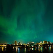 Aurora borealis over downtown Saskatoon skyline, night of June 28-29, 2013