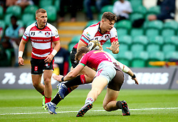 Harry Randall of Gloucester Rugby is tackled - Mandatory by-line: Robbie Stephenson/JMP - 28/07/2017 - RUGBY - Franklin's Gardens - Northampton, England - Harlequins v Gloucester Rugby - Singha Premiership Rugby 7s