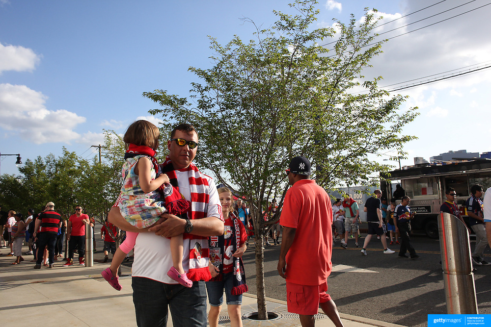 Fans arrive at Red Bull Arena for the first ever match between the New York Red Bulls  and New York City FC in the  MLS regular season match at Red Bull Arena, Harrison, New Jersey. USA. 10th May 2015. Photo Tim Clayton