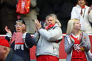 Delighted Nottingham Forest fans at the final whistle during the EFL Sky Bet Championship match between Nottingham Forest and Burton Albion at the City Ground, Nottingham, England on 21 October 2017. Photo by John Potts.