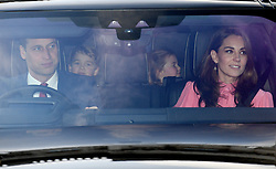 The Duke of Cambridge, Prince George, Princess Charlotte and the Duchess of Cambridge leaving the Queen's Christmas lunch at Buckingham Palace, London.
