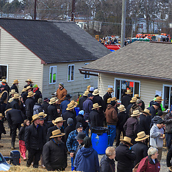 Gordonville, PA, USA - March 10, 2018: A large crowd gathers at the annual Lancaster County Mud Sale at the Gordonville Fire Company.