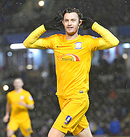 Prestons Will Keane celebrates his goal against Burnley in the Championship game at Turf Moor.<br /> <br /> Photographer Dave Howarth/CameraSport<br /> <br /> Football - The Football League Sky Bet Championship - Burnley v Preston North End - Saturday 5th December 2015 - Turf Moor - Burnley<br /> <br /> © CameraSport - 43 Linden Ave. Countesthorpe. Leicester. England. LE8 5PG - Tel: +44 (0) 116 277 4147 - admin@camerasport.com - www.camerasport.com