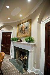 Very high resolution view of the fireplace in the newly renovated interior of the Roosevelt Room in the White House in Washington, DC, USA, on Tuesday, August 22, 2017. Photo by Ron Sachs/CNP/ABACAPRESS.COM