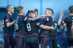Arbroath's Ryan Wallace (9) cele scoring their second goal. half time : Stenhousemuir 1 v 2 Arbroath, Scottish Football League Division One play12/1/2019 at Ochilview Park.