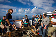 Whalewatching, La Gomera, in the Canary Islands, on board the whale watching boat Tina, tourists with scientist Christoph Schmitt.