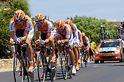 France, Grabels, 7 July 2009: Rabobank drive up the hill from Grabels during Stage 4 of the 2009 Tour de France cycle race. This stage was the Team Time Trial and started and ended in Montpellier and was 39km long. Photo by Peter Horrell / http://peterhorrell.com .