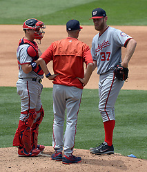June 7, 2017 - Los Angeles, California, U.S. - Washington Nationals starting pitcher Stephen Strasburg (37) has a meeting at the mound with catcher Jose Lobaton and pitching coach Mike Maddux in the sixth inning of a Major League baseball game against the Washington Nationals at Dodger Stadium on Wednesday, June 7, 2017 in Los Angeles. Los Angeles Dodgers won 2-1. (Photo by Keith Birmingham, Pasadena Star-News/SCNG) (Credit Image: © San Gabriel Valley Tribune via ZUMA Wire)