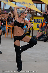Lisa Ligon of the Purrfect Angelz dance troupe performed at the HOG (Harley Owners Group) party by the pool at the Full Throttle Saloon during the Sturgis Black Hills Motorcycle Rally. SD, USA. Thursday, August 8, 2019. Photography ©2019 Michael Lichter.