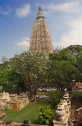 Sep 15, 2015 - Bodhgaya, Bihar, India - Bodhgaya, Bihar, India. Mahabodhi Temple In Bodhgaya. The Mahabodhi Temple Complex is one of the four holy sites related to the life of the Lord Buddha, and particularly to the attainment of Enlightenment. The first temple was built by Emperor Asoka in the 3rd century B.C., and the present temple dates from the 5th or 6th centuries. It is one of the earliest Buddhist temples built entirely in brick, still standing in India, from the late Gupta period.  (Credit Image: © Sergi Reboredo/ZUMA Wire/ZUMAPRESS.com)