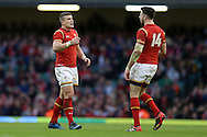 Scott Williams of Wales (l) talks to Alex Cuthbert of Wales. Under Armour 2016 series international rugby, Wales v Australia at the Principality Stadium in Cardiff , South Wales on Saturday 5th November 2016. pic by Andrew Orchard, Andrew Orchard sports photography