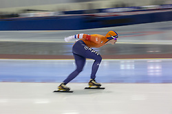 March 9, 2019 - Salt Lake City, Utah, USA - Reina Anema of the Netherlands competes in the ladies 3000m speed skating finals at the ISU World Cup at the Olympic Oval in Salt Lake City, Utah. (Credit Image: © Natalie Behring/ZUMA Wire)