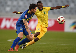 Cape Town-180818 Cape Town City midfielder Roland Putsche challenged  by Knox Mutizwa of Golden Arrows in a PSL match at Cape Town Stadium .photograph:Phando Jikelo/African News Agency/ANA