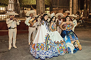 Beauty queens pose during the week long fiesta of the patron saint Saint Michael September 26, 2017 in San Miguel de Allende, Mexico.