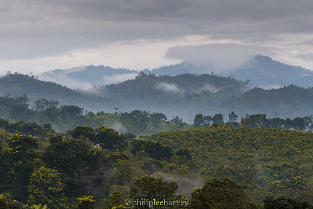 Clouds breaking over forest and hills, Kalibaru, Banyuwangi Regency, East Java, Indonesia, Southeast Asia