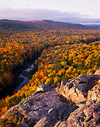 Autumn colors along the Carp River, Porcupine Mountains near Lake Superior, Porcupine Mountains Wilderness State Park, Upper Peninsula of Michigan .
