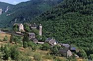 Prades castle and Tarn river Canyon   Cevennes. landscape .