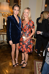 Left to right, CARA DELEVINGNE and BROOKE BARZUN at a party hosed by the US Ambassador to the UK Matthew Barzun, his wife Brooke Barzun and editor of UK Vogue Alexandra Shulman in association with J Crew to celebrate London Fashion Week held at Winfield House, Regent's Park, London on 16th September 2014.