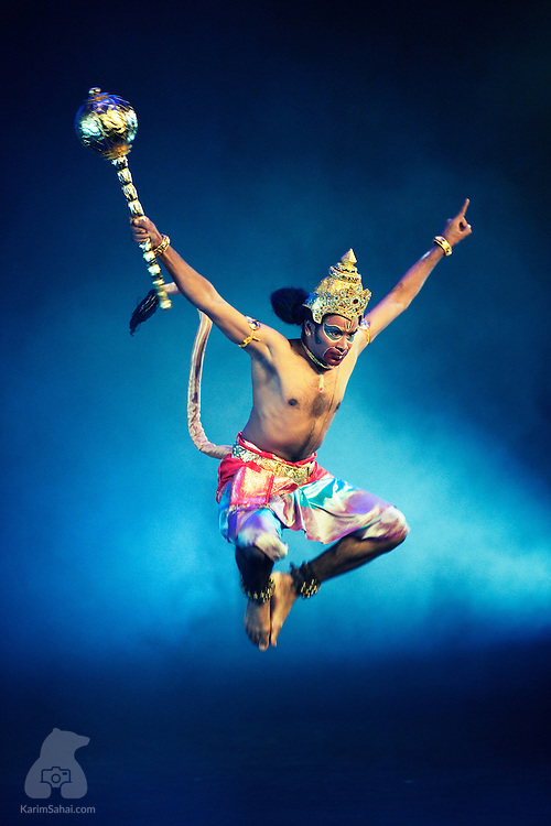Wellington, New Zealand - A dancer in the role of 'Hanuman' - the monkey-god from the hindu epic 'Mahabharata' - leaps on stage, during an indian Bharata Natyam dance performance directed by Mudra Dance Company Vivek Kinra, at the Opera House.