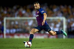 October 8, 2018 - Valencia, Valencia, Spain - Jordi Alba goes passed during the week 8 of La Liga match between Valencia CF and FC Barcelona at Mestalla Stadium in Valencia, Spain on October 7, 2018. (Credit Image: © Jose Breton/NurPhoto/ZUMA Press)
