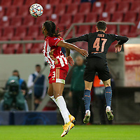 PIRAEUS, GREECE - NOVEMBER 25: Rúben Semedo of Olympiacos FC and Phil Foden of Manchester City during the UEFA Champions League Group C stage match between Olympiacos FC and Manchester City at Karaiskakis Stadium on November 25, 2020 in Piraeus, Greece. (Photo by MB Media)