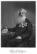 Samuel Finley Breese Morse (1791-1872)  American artist and inventor. Engraving published 1872 showing him with his printing telegraph on table beside him.