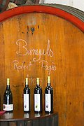 Banyuls Robert Pages 2005. Domaine Madeloc, Banyuls sur Mer. Roussillon. Wooden fermentation and storage tanks. France. Europe. Bottle.