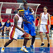 Galatasaray's Donneka HODGES (L), Tugba PALAZOGLU (R) and Halcon Avenida's Sancho LYTTLE (C) during their woman Euroleague group C matchday 9 Galatasaray between Halcon Avenida at the Abdi Ipekci Arena in Istanbul at Turkey on Wednesday, January 12 2011. Photo by TURKPIX