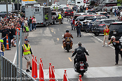 Kerry Patchett and Mike Carson roll off the SS Badger Lake Michigan ferry during the Cross Country Chase motorcycle endurance run from Sault Sainte Marie, MI to Key West, FL (for vintage bikes from 1930-1948). Stage 2 from Ludington, MI to Milwaukee, WI, USA. Saturday, September 7, 2019. Photography ©2019 Michael Lichter.