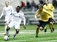 Fotball , 2.runde NM<br /> 08.05.2014<br /> Briskeby Stadion<br /> Raufoss Fotball v Stabæk Fotball   1-2<br /> Foto : Dagfinn Limoseth , Digitalsport<br /> Bi Sylvestre franck Fortune Boli  , Stabæk  og Fredrik Greve Monsen , Raufoss