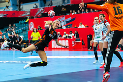 Kelly Dulfer of Netherlands, Blanka Biro of Hungary in action during the Women's EHF Euro 2020 match between Netherlands and Hungry at Sydbank Arena on december 08, 2020 in Kolding, Denmark (Photo by RHF Agency/Ronald Hoogendoorn)