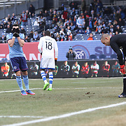 NEW YORK, NEW YORK - March 18:  Jack Harrison #11 of New York City FC holds his head in his hands after shooting over the bar from close range during the New York City FC Vs Montreal Impact regular season MLS game at Yankee Stadium on March 18, 2017 in New York City. (Photo by Tim Clayton/Corbis via Getty Images)