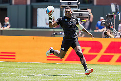 July 22, 2018 - San Francisco, CA, U.S. - SAN FRANCISCO, CA - JULY 22: New Zealand's Joe Ravouvou heads downfield for the first try of the semifinal match between New Zealand and Fiji at the Rugby World Cup Sevens on July 22, 2018 at AT&T Park in San Francisco, CA. (Photo by Bob Kupbens/Icon Sportswire) (Credit Image: © Bob Kupbens/Icon SMI via ZUMA Press)