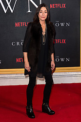 © Licensed to London News Pictures. 01/12/2016. AMANDA DONOHOE attends the TV premiere of the new Netflix series The Crown about the reign of Queen Elizabeth II. London, UK. Photo credit: Ray Tang/LNP