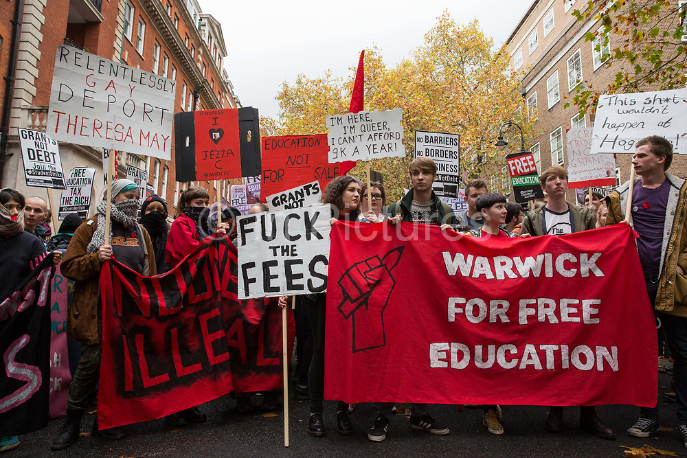 Thousands of students attend a National Demonstration for a Free Education on 4th November 2015 in London, United Kingdom. The demonstration was organised by the National Campaign Against Fees and Cuts NCAFC in protest against tuition fees and the Government's plans to axe maintenance grants from 2016.