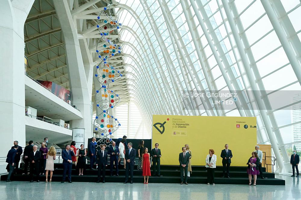 King Felipe VI of Spain, Queen Letizia of Spain attends 2019 National Innovation and Design Awards at Ciudad de las Artes y las Ciencias on July 3, 2020 in Valencia, Spain