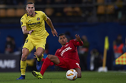 December 13, 2018 - Villarreal, Castellon, Spain - Pedraza of Villarreal and Pedro Rocha of Spartak Moskva competes for the ball during the Group G match of the UEFA Europa League between Villarreal CF and Spartak Moskva at La Ceramica Stadium Villarreal, Spain on December 13, 2018. (Credit Image: © Jose Breton/NurPhoto via ZUMA Press)