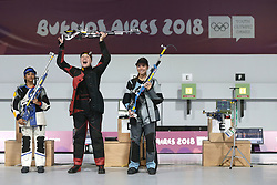 BUENOS AIRES, Oct. 9, 2018  Stephanie Laura Scurrah Grundsoee (C) of Denmark, Mehuli Ghosh (L) of India and Marija Malic of Serbia pose for photograph after the women's 10m air rifle final at the 2018 Summer Youth Olympic Games in Buenos Aires, Argentina on Oct. 8, 2018.  Stephanie Laura Scurrah Grundsoee won the gold with 248.7 points, Mehuli Ghosh and Marija Malic won the silver and the bronze with 248.0 points and 226.2 points respectively. (Credit Image: © Li Ming/Xinhua via ZUMA Wire)