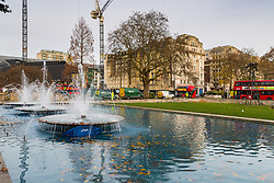 A  rough sleeper's submerged tent lies under the fountains in Marble Arch. Homeless Britons are coming under increasing pressure as a surge of Roma beggars from Romania arrive on the streets of London to take advantage of the generosity of Christmas shoppers. London, December 04 2018.