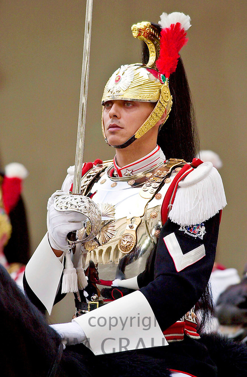 PRESIDENTIAL GUARD AT THE QUIRINALE PALACE IN ROME, ITALY