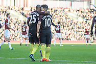 Manchester City striker Sergio Aguero celebrates scoring a goal making it 2-1during the Premier League match between Burnley and Manchester City at Turf Moor, Burnley, England on 26 November 2016. Photo by Pete Burns.