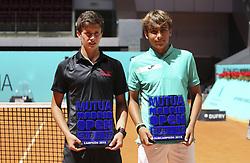 May 12, 2019 - Madrid, MADRID, SPAIN - Alejandro Manzanera (ESP) winner of the Mutua Madrid Open Sub 16, 2019 and Daniel Merida (ESP), finalist, at Caja Magica in Madrid, Spain, on May 11, 2019. (Credit Image: © AFP7 via ZUMA Wire)