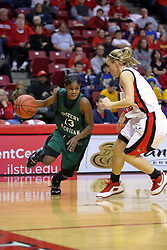 06 December 2008: Sydney Huntley-Rogers drives the baseline during a game between the Eastern Michigan Eagles and the Illinois State Redbirds on Doug Collins Court inside Redbird Arena on the campus of Illinois State University, Normal Il.