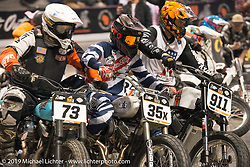 A crazy start to the Hooligan racers main event finals at the Flat Out Friday indoor flat track racing during the Mama Tried Show weekend. Milwaukee, WI. USA. Friday February 23, 2018. Photography ©2018 Michael Lichter.