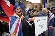 Anti Brexit protesters including Steve Bray wearing European Union flags in Westminster outside Europe House, the European Parliament Liason office in the UK on 8th January 2020 in London, England, United Kingdom. With a majority Conservative government in power and Brexit day at the end of January looming, the role of these protesters is now to demonstrate in the hope of the softest Brexit deal possible.