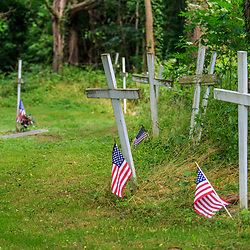 Columbia, PA - June 11, 2016: Graves in Zion Hill Cemetery marked with wood crosses may be those of some Black Army veterans.