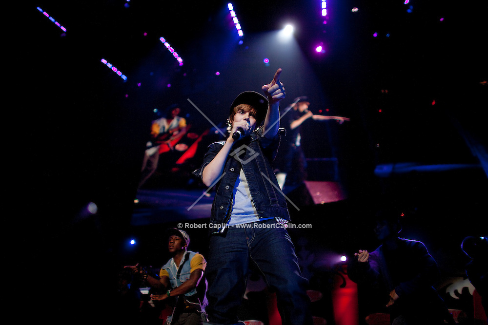 Justin Bieber performs at the 2009 Z100 Jingle Ball at Madison Square Garden in New York. It was Bieber's first performance at The Garden. ..(Photo by Robert Caplin)..